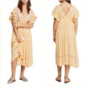 Free People Will Wait For You Midi Peasant Dress